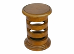 "19"" Carved Acacia Wood Contemporary Circular End Table in Pine - frt1096"