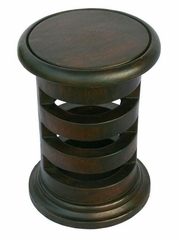 "19"" Carved Acacia Wood Contemporary Circular End Table in Walnut Brown - frt1097"