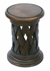 "19"" Carved Acacia Wood Round End Table Lattice Design in Walnut - frt1093"