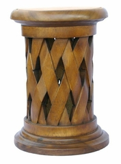 "19"" Carved Acacia Wood Round End Table with Lattice Design in Natural - frt1092"