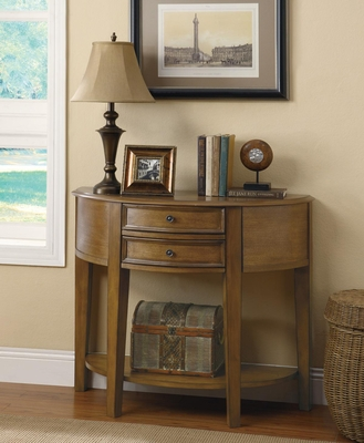 2 Drawer Demilune Entry Table with Shelf in Distressed Oak - 950076
