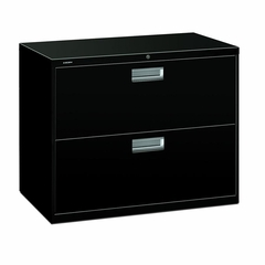 2 Drawer Locking Lateral File Cabinet in Black - HON682LP