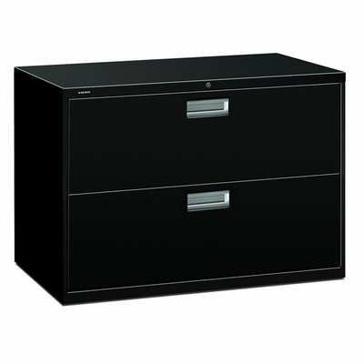 2 Drawer Locking Lateral File Cabinet in Black - HON692LP