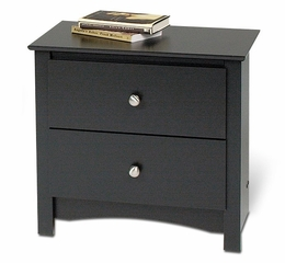 2 Drawer Night Stand in Black - Sonoma Collection - Prepac Furniture - BDC-2422