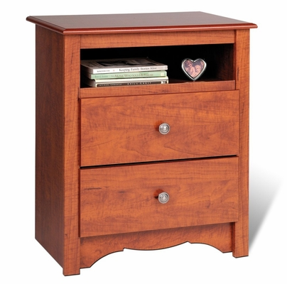 2 Drawer Tall Night Stand in Cherry - Monterey Collection - Prepac Furniture - CDC-2428