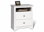 2 Drawer Tall Night Stand in White - Monterey Collection - Prepac Furniture - WDC-2428