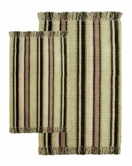 2-Piece Accent Rug Set in Bay Leaf / Multi - Silked Ribbed - 21158