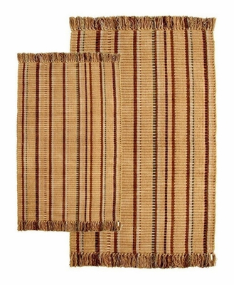 2-Piece Accent Rug Set in Caramel / Multi - Silked Ribbed - 21157