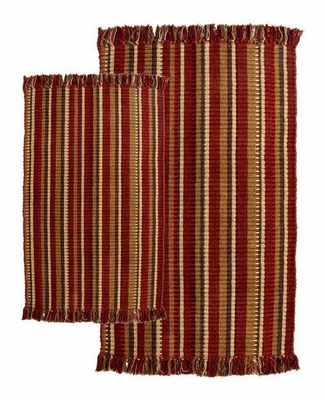 2-Piece Accent Rug Set in Wine / Multi - Silked Ribbed - 21156