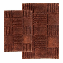 2-Piece Bath Rug Set in Chocolate - Checkerboard - 14567