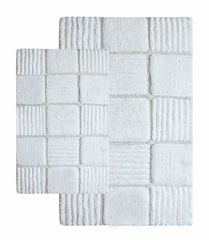 2-Piece Bath Rug Set in Ivory - Checkerboard - 14566