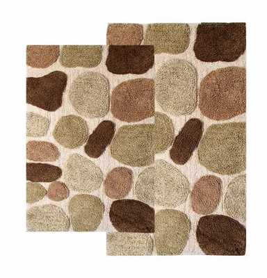 2-Piece Bath Rug Set in Khaki - Pebbles - 26650