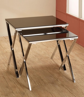 2 Piece Chrome & Black Nesting Tables - 901035