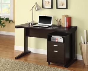 2-Piece Desk Set with Rolling File Cabinet in Cappuccino - 800916