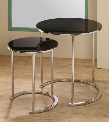 2 Piece Round Nesting Tables with Glass Table Tops - 901036