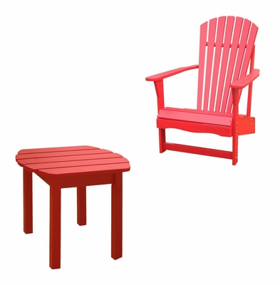 2-Piece Set - Adirondack Chair with Side Table in Red - K-92248-CT-0