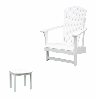 2-Piece Set - Adirondack Chair with Side Table in White - K-51900-CT-0