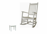 2-Piece Set - Porch Rocker Chair with Side Table in White - K-51864-51900-0