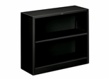2 Shelf Metal Bookcase - Black - HONS30ABCP