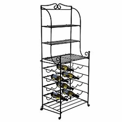 20 Bottle Folding Wine Shelf - Black - Pangaea Home and Garden Furniture - FM-C4445-20-K