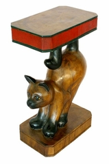 "20"" Carved End Table with Painted Accents - Stretching Cat Design - frt1009"