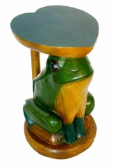 "20"" Carved Round Wood End Table with Painted Accents - Frog and Heart Design - frt1006"
