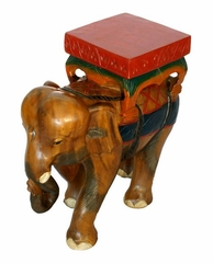 "20"" Carved Wood End Table with Painted Accents - Thai Elephant Design - frt1031"