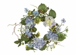 "20"" Hydrangea Wreath in Blue - Nearly Natural - 4642-BL"