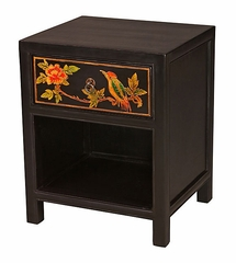 "20"" Nightstand with Drawer and Painted Rainforest Design in Black - frc1073"