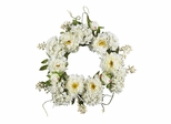 "20"" Peony Hydrangea Wreath in White - Nearly Natural - 4690"