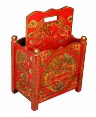 "20"" Tibetan Magazine Rack with Painted Chinese Dragon Design - frc1020"
