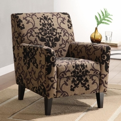 2010 Fiesta Club Chair in Brown Medallion Design Fabric - Armen Living - LC2010FABR