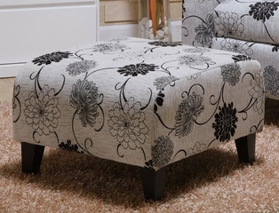 2013 Marietta Ottoman in Black and White Floral Pattern - Armen Living - LC2013COTFAWH