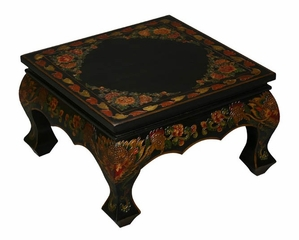 "21"" Tibetan Accent / Coffee Table with Painted Dragons and Flowers - frc1014"
