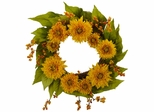 "22"" Golden Sunflower Wreath - Nearly Natural - 4904"