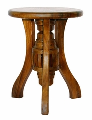 "23"" Classic Round Wood End Table with Cabriole Style Legs in Walnut - frt1003"