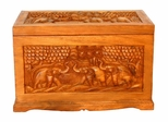 "23"" Exotic Thai Elephant Design Wood Storage Chest / Coffee Table in Rich Walnut Gloss - frt1053"