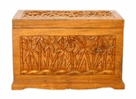 "23"" Tropical Palm Tree Design Wood Storage Chest / Coffee Table in Rich Walnut Gloss - frt1054"