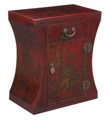 "24"" Antique Style Hourglass End Table in Red Leather - frc5028"