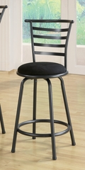 "24"" Bar Stool (Set of 2) in Gunmetal Gray / Black Microfiber - Coaster - 122009-SET"
