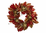 "24"" Burgundy and Gold Artichoke Wreath - Nearly Natural - 4922"