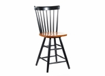 "24"" Copenhagen Swivel Stool in Black / Cherry - S57-2902"