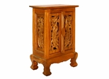 "24"" Exotic Peacocks Storage Cabinet / Nightstand in Natural - frt1051"