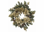 "24"" Golden Poinsettia Wreath - Nearly Natural - 4912"