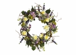 "24"" Hydrangea Rose Wreath in Mixed - Nearly Natural - 4673"