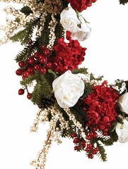 "24"" Hydrangea with White Roses Wreath - Nearly Natural - 4899"