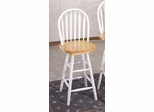 24 Inch Arrow Back Windsor Bar Stool with Swivel Seat in Natural / White - Coaster