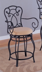 24 Inch Bar Stool in Black Metal / Dark Brown - Coaster
