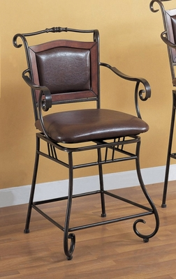 24 Inch Bar Stool in Chocolate Brown - Coaster