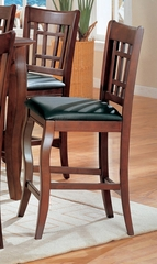 24 Inch Bar Stool (Set of 2) in Dark Cherry / Black Vinyl Seats - Coaster